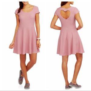 No Boundaries Heart CutOut Skater Dress Pink XXL